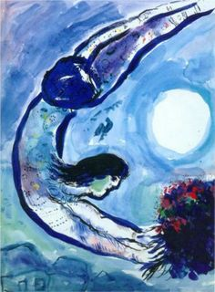 acrobata com bouquet  Artist: Marc Chagall Completion Date: 1963 Place of Creation: France Style: Naïve Art (Primitivism) Genre: genre painting Technique: gouache, indian ink, watercolor Material: paper Dimensions: 63.5 x 46 cm Tags: flying, actors-and-performances