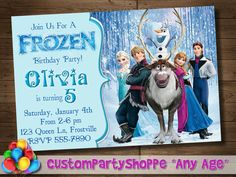 FROZEN PRINTABLE INVITATION Custom Frozen by PinkFrostingPaperie, $8.00.   C's final choice for invite.