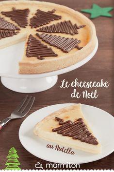 Pour un cheesecake de Noël, on adore cette recette originale au Nutella pour faire des dessins de sapin sur toutes les parts du gâteau ! #recettemarmiton #marmiton #recette #recettefacile #recetterapide #faitmaison #cuisine #ideesrecettes #inspiration #nutella #noel #dessert #gouter #cheesecake