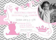 Princess Birthday Party Invitation Printable Chevron Pink Gray - Princess Crown First Birthday - Birthday Party Princess Girl - Chevron. $14.00, via Etsy.