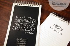 Chalkboard Style Birthday and Anniversary Calendars on Etsy, $12.50