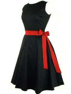 "Women's ""Classic"" Full Circle Dress by Hemet (Black) #inkedshop #circle #circledress #bow #red #fashion #retro"