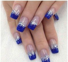 Beautiful dark blue nail art design in French tips. The French tip designs are n blue nail polish and are bordered with silver glitter and sequins as they transition in to clear polish when the design reaches the cuticle of the nails. Blue And Silver Nails, Dark Blue Nails, Silver Glitter, Blue Gel, Cobalt Blue Nails, Glitter Nails, Gel Nails, Nail Polish, Acrylic Nails