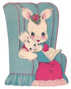 """"""" Norcross - Double-Wish """". Small bunny is a removable, mini card. Small bunny has some creases. 
