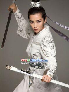 Chinese Traditional White Embroidery Swordsman Clothing and Hair Accessories Complete Set Warrior Girl, Warrior Princess, Asian Woman, Asian Girl, Katana Girl, Female Samurai, Samurai Poses, Art Asiatique, Martial Arts Women