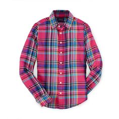 Plaid Cotton Twill Shirt ❤ liked on Polyvore featuring tops, plaid top, plaid shirt, cotton-twill shirt, tartan top and tartan shirt