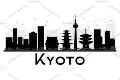 Kyoto City Skyline Silhouette by Igor Sorokin on @creativemarket