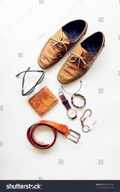 Men's accessories on white background, flat lay fashion and beauty concept