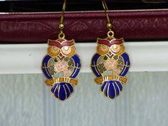 Vintage Cloisonne Owl Earrings  Beautiful by ChicAvantGarde