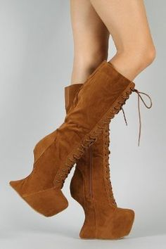 $49.50 Amazon.com: Vintage Goddess-08 Heel Less Laced Knee High Boots TAN (FREE SHIPPING on all add'l items) (9): Shoes