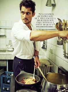 """It's a question of style; I'm very old school.  My icons are Paul Newman and Steve McQueen."" manhood, mood, chef, cooking."