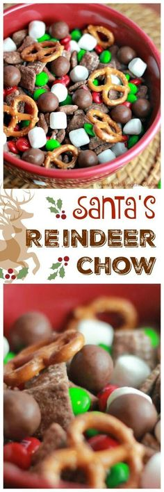 Santa's Reindeer Chow Here comes Santa Claus, Here comes Santa Claus, right down Reindeer Lane! Santa's gearing up for that special night before Christmas and do you know what snack Reindeer love the most? Santa's Yummy Reindeer Chow! Holiday Snacks, Christmas Party Food, Xmas Food, Snacks Für Party, Christmas Appetizers, Christmas Sweets, Christmas Cooking, Christmas Goodies, Holiday Recipes