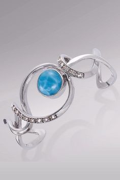Larimarket - MarahLago Dante Collection Larimar Cuff Bracelet with White Topaz, $564.00 (http://www.larimarket.com/marahlago-dante-collection-larimar-cuff-bracelet-with-white-topaz/)