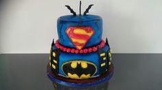 Batmen vs. Supermen cake Joker, Birthday Cake, Desserts, Food, Tailgate Desserts, Deserts, Birthday Cakes, Essen, The Joker