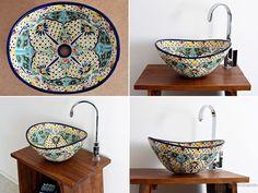 Bunte Design Waschbecken aus Mexiko oval, MEX 7 von Mexambiente