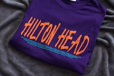 e769d62b0e05f8 Vintage HILTON HEAD Retro 1992 T-Shirt Purple Orange Streetwear Fashion  Gifts for Him Gifts for Her Street Style Skater Fashion Vtg Tee