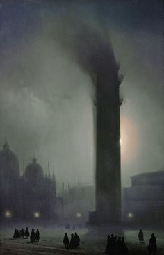 Ippolito Caffi (Italian 1809-1866), Nocturne with fog in Piazza San Marco. Oil on canvas, 63 x 41 cm.