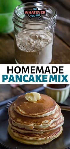 Homemade Dry Pancake Mix using pantry staples plus the addition of buttermilk powder! Great to keep around for a rainy day. Brunch Recipes, Breakfast Recipes, Dinner Recipes, Breakfast Ideas, Easy Cooking, Cooking Recipes, Sauce Recipes, Bread Recipes, Homemade Pancakes