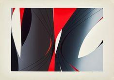 """GUNNAR S. GUNDERSEN FØRDE 1921 - BÆRUM 1983 """"Sortie"""" Fargeserigrafi, 57x82 cm Signert nede til høyre: Gunnar S. Opplag 100 Ford, Artist, Artists"""