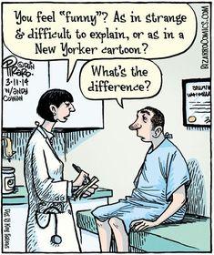 """Bizarro"" by Dan Piraro Funny Cartoon Pictures, Cartoon Jokes, Cartoon Posters, Medical Humor, Nurse Humor, Funny Cute, Really Funny, Hilarious, Smart Humor"