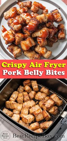 Air fryer pork belly bites are so good and crispy! Best way to make crispy pork belly in the air fryer. We add bbq sauce to the pork belly and it's amazing! Air Fryer Recipes Appetizers, Air Fryer Recipes Vegetarian, Air Fryer Recipes Low Carb, Healthy Recipes, Keto Recipes, Snacks Recipes, Easy Recipes, Recipies, Fried Pork Belly