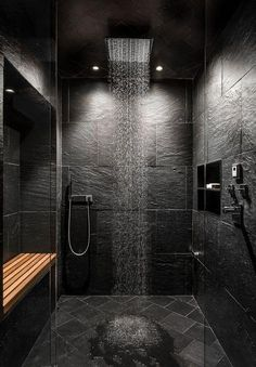 Haus im Wald von Kim Smith - House - arquitectura y diseño de arquitectura universidades bedroom ideas decorations gear design tree ideas sketches Dyi Bathroom Remodel, Bathroom Ideas, Slate Shower, Slate Bathroom, Bathroom Black, Rain Shower, Master Bathroom, Douche Design, Small Bathroom With Shower