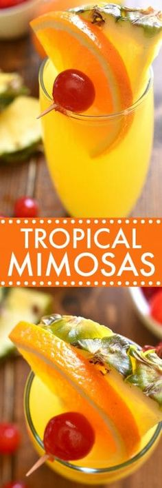 Tropical Mimosas are my new favorite brunch cocktail! This fruity mimosa recipe combines traditional mimosas with Malibu Rum and pineapple juice for a tropical drink that's perfect for summer!
