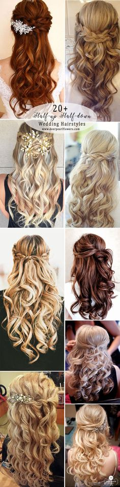 half up half down long wedding hairstyles #weddings #weddingideas #hairstyles #fashion ❤️ http://www.deerpearlflowers.com/half-up-half-down-wedding-hairstyle-ideas/