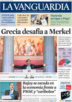 Diario LA VANGUARDIA del 26 de Enero 2015 Recordamos que pueden visualizar cada día las principales portadas titulares ocurridos en España - Catalunya - Barcelona en http://www.youtube.com/vendopor