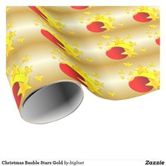 #Bauble #Stars #Christmas Gold #Wrapping #Paper
