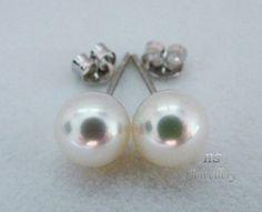 HS #Japanese #Akoya Cultured #Pearl 8mm #14K White #Gold #Stud #Earrings AAA Grading #Jewelry #Gift #Bridal #Birthday