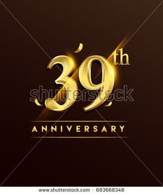39th anniversary glowing logotype with confetti golden colored isolated on dark background, vector design for greeting card and invitation card.