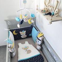 ✨Hello✨ • On commence la semaine avec le smile 😀 • Une jolie commande dans les teintes de marine, turquoise, beige et une touche de jaune • Vous êtes aussi fan que nous 🤩 • • #gigoteuse #coussin #mobilemusical #boiteamusique #mobilebébé #mobilebebe #renard #fox #decoenfant #chambreenfant #decobebe #decogarcon #distribdeloveteamcreatrices #kidsroom #babyshower #babyroom #chambrebebe #litbebe #lespetitsgossesminiatures #carnetdesante #naissance Mobile Musical, Baby Nest, Childrens Beds, Creation Couture, Useful Life Hacks, Turquoise, Baby Room, Nursery Decor, Baby Kids