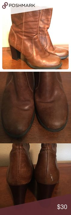 Gianni Bini leather ankle boots Super cute with boot cut and flared jeans. These were well love but still have lots of life left in them. Good quality leather. Gianni Bini Shoes Ankle Boots & Booties