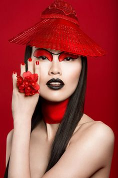 Lindsay Adler Photography - Red fashion editorial of asian model with creative makeup. Foto Fashion, Red Fashion, Lindsay Adler, Fashion Photography Inspiration, China Girl, Foto Art, Beauty Shots, Red Aesthetic, Creative Makeup