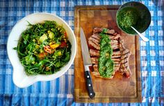 Chimichurri T-Bone & Blackened Corn Salad - The Londoner. My plan- take out the steak part, replace with a veggie option!