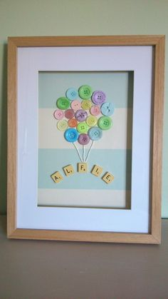Button Balloons with the name Alfie in Scrabble by ButtonLane1, £35.00 Scrabble Crafts, Scrabble Letters, Scrabble Ornaments, Scrabble Tile Art, Scrabble Board, Dyi Baby Gifts, Personalised Baby Gifts, Homemade Baby Gifts, Diy Gifts