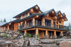Log post-and-beam brock smith custom homes, llc Log Home Floor Plans, Dream House Plans, Tiny House Cabin, Log Cabin Homes, Cabin Design, House Design, Log Homes Exterior, Dream Mansion, Dream House Interior