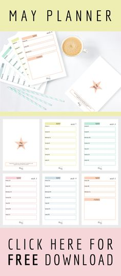 Get organized with this free printable 6 page planner for May 2017, including a page to brainstorm your goals for the month.