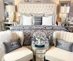 The way you decorate your home is somehow similar to choosing beautiful clothes to wear on a daily basis. An impressive interior decoration of your home or office is essential for your own state of mind, if nothing else. Chanel Bedroom, Glam Bedroom, Home Decor Bedroom, Living Room Decor, Bedroom Ideas, Master Bedroom Makeover, Luxurious Bedrooms, My New Room, Beautiful Bedrooms