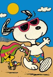 Snoopy and Woodstock ready for the beach