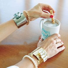 Morning goals with The Lindsay Phillips Switchflops Chloe Gold Cuff