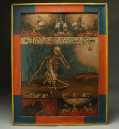18th century Spanish colonial oil on canvas depicts a pensive skeleton sheltering a young girl inside his rib-cage with a poetic inscription which translates as follows: 'You look well at me, because I am your mirror of that which you will have sooner or later, and in it, you will seen the nothingness of man.'