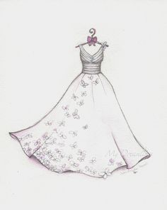 Wedding dress sketch for 1st anniversary. A gift from him to her on the paper anniversary.