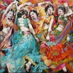 "Navratri Garba dance -Fabulous artwork shared on IndianArtCollectors! ""Dandia"" by Subrata Gangopadhyay  See more artworks by Subrata Gangopadhyay at: http://www.indianartcollectors.com/artist/SubrataGangopadhyay"
