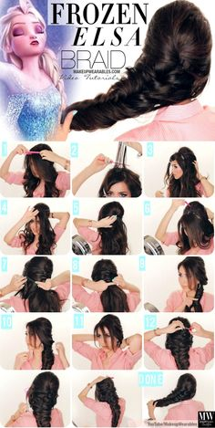 step by step fancy french fishtail braid tutorial for disney frozen hairstyle elsa hair tutorial 4 My Hairstyle, Girl Hairstyles, Frozen Hairstyles, Hairstyle Tutorials, Fancy Hairstyles, Heatless Hairstyles, Amazing Hairstyles, Disney Hairstyles, Halloween Hairstyles