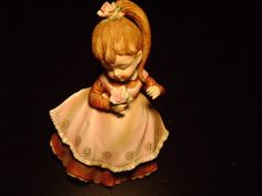 Lefton China Handpainted Figure KW340B Girl with Flowers in Her Hair and Hands