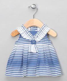 Blue & White Striped Baby Dress