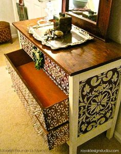 Furniture stencil project with Moroccan stencils and Chalk Paint® decorative paint from Annie Sloan