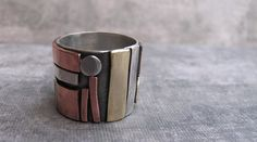Metropolis - Sterling Silver, Brass, and Copper  Ring
